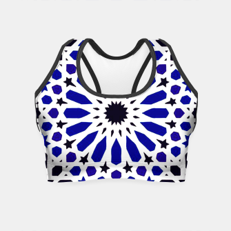 Thumbnail image of Epic Original Blue Moroccan Geometric Artwork. Crop Top, Live Heroes