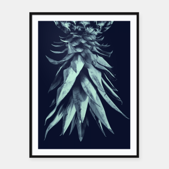 Navy Blue Pineapple Upside Down #1 #tropical #fruit #decor #art Plakat mit rahmen miniature