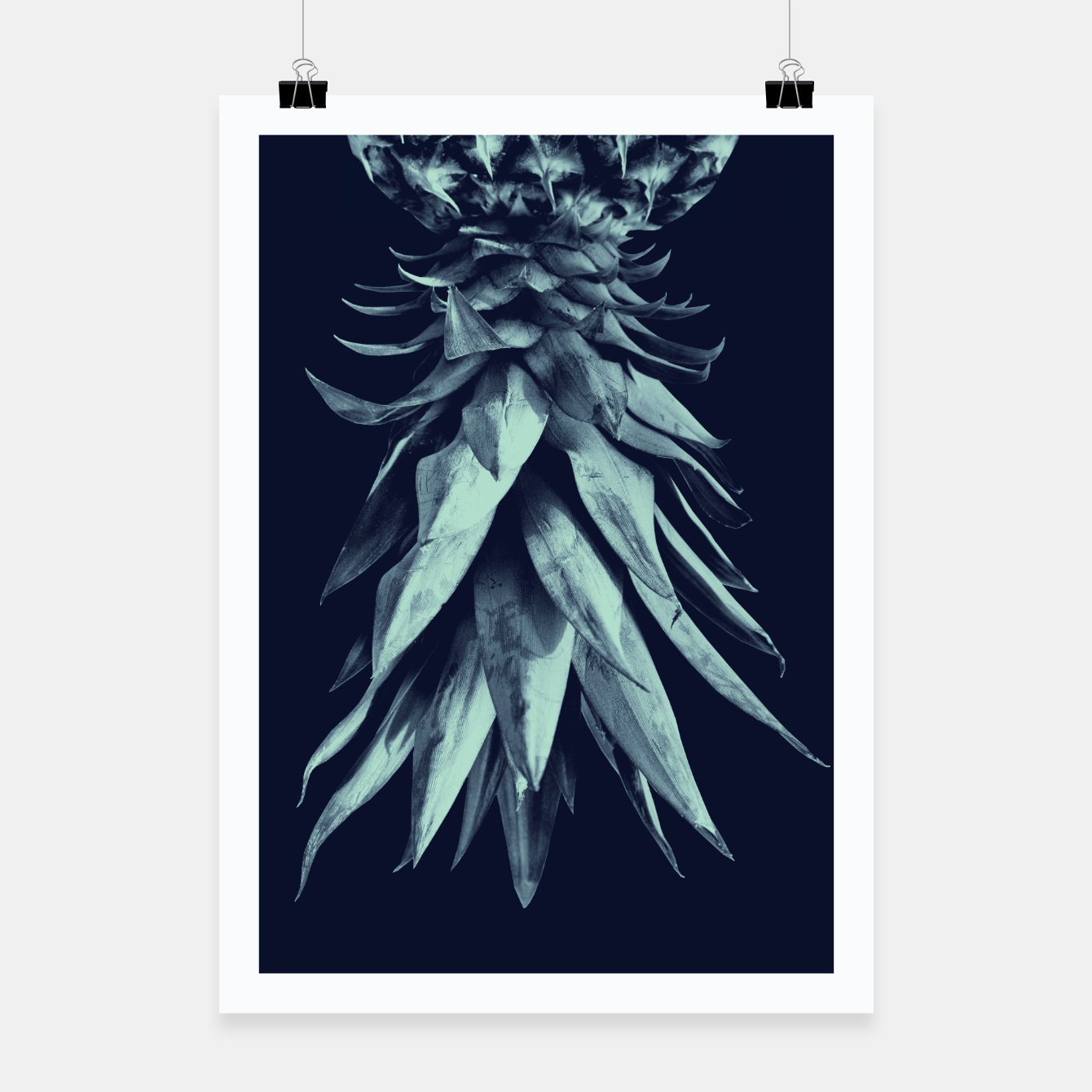 Image de Navy Blue Pineapple Upside Down #1 #tropical #fruit #decor #art Plakat - Live Heroes