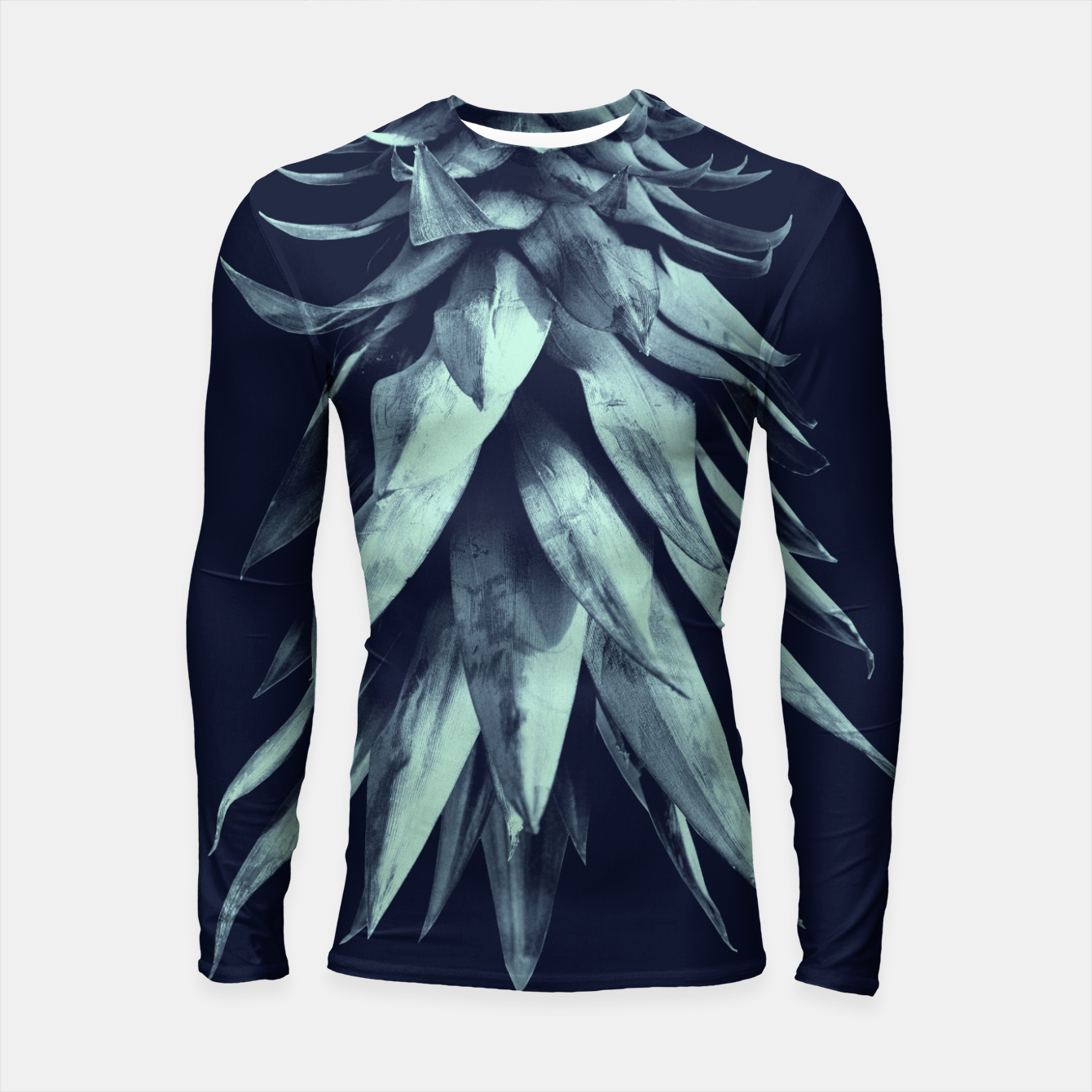 Image de Navy Blue Pineapple Upside Down #1 #tropical #fruit #decor #art Longsleeve rashguard - Live Heroes