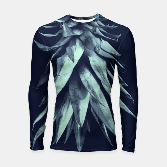 Navy Blue Pineapple Upside Down #1 #tropical #fruit #decor #art Longsleeve rashguard miniature