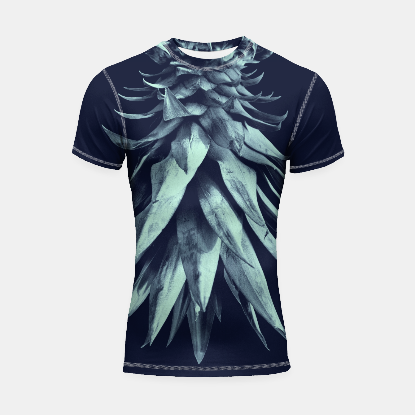 Zdjęcie Navy Blue Pineapple Upside Down #1 #tropical #fruit #decor #art Shortsleeve rashguard - Live Heroes