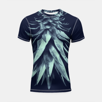 Imagen en miniatura de Navy Blue Pineapple Upside Down #1 #tropical #fruit #decor #art Shortsleeve rashguard, Live Heroes
