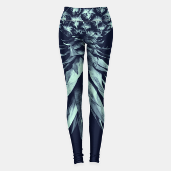 Navy Blue Pineapple Upside Down #1 #tropical #fruit #decor #art Leggings obraz miniatury