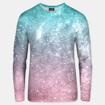 Sea pink viridian green ombre abstract galaxy Unisex sweater obraz miniatury