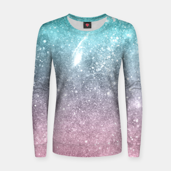 Sea pink viridian green ombre abstract galaxy Women sweater obraz miniatury