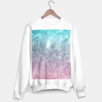 Sea pink viridian green ombre abstract galaxy Sweater regular obraz miniatury
