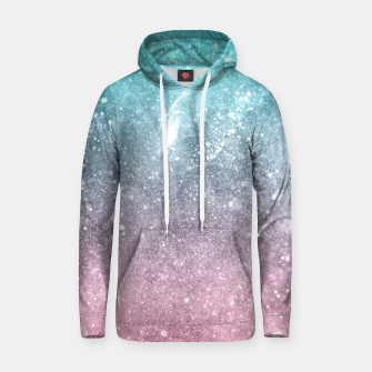 Sea pink viridian green ombre abstract galaxy Hoodie obraz miniatury