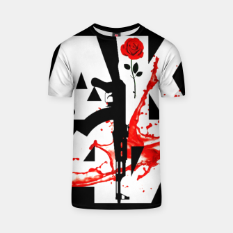 Thumbnail image of AK-47 Guns Rose Blood Men Black design T-shirt, Live Heroes