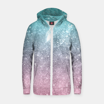 Sea pink viridian green ombre abstract galaxy Zip up hoodie obraz miniatury