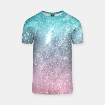 Sea pink viridian green ombre abstract galaxy T-shirt obraz miniatury