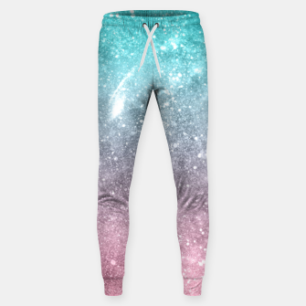 Sea pink viridian green ombre abstract galaxy Sweatpants obraz miniatury