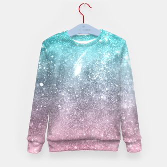 Sea pink viridian green ombre abstract galaxy Kid's sweater obraz miniatury
