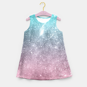 Sea pink viridian green ombre abstract galaxy Girl's summer dress obraz miniatury