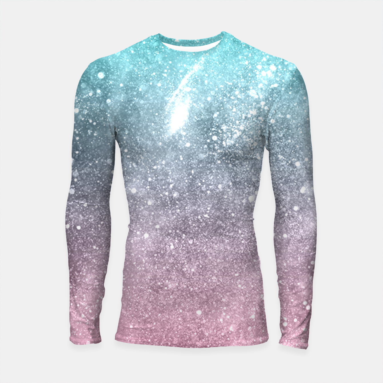 Image of Sea pink viridian green ombre abstract galaxy Longsleeve rashguard  - Live Heroes