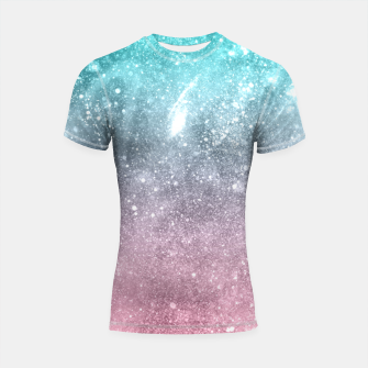 Thumbnail image of Sea pink viridian green ombre abstract galaxy Shortsleeve rashguard, Live Heroes