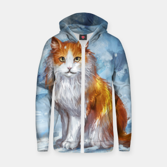Painted Cat Zip up hoodie miniature