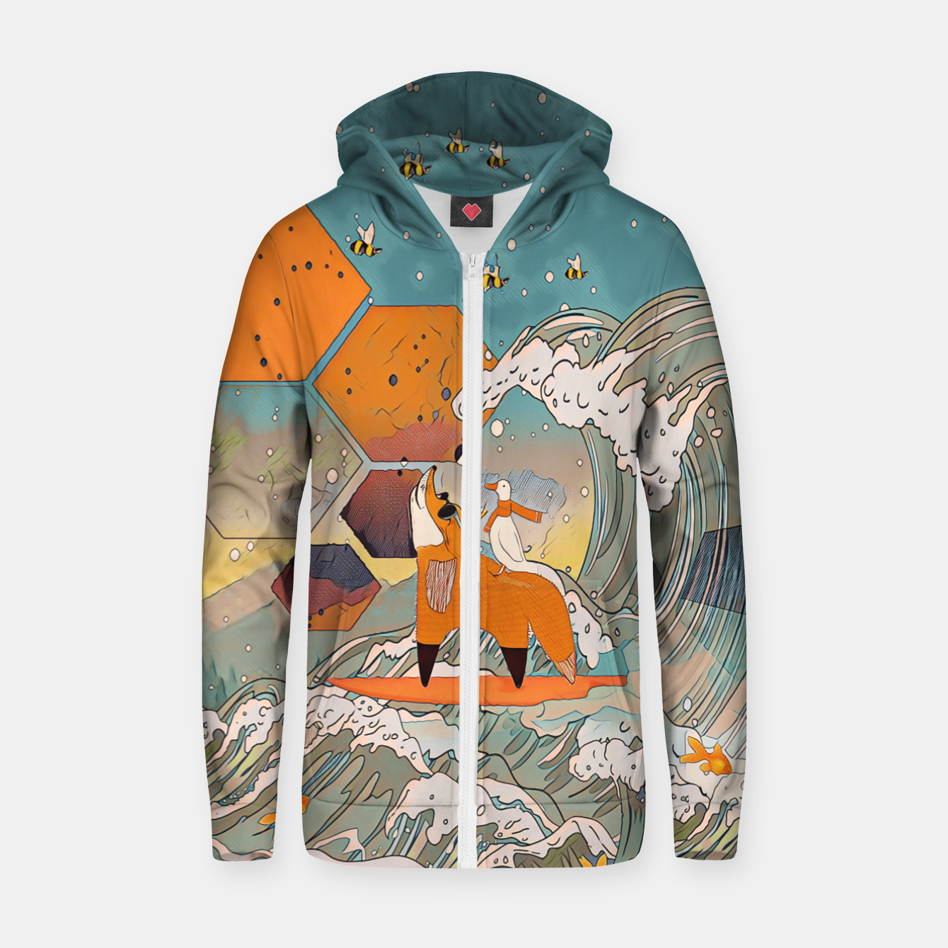 Foto The fox and the duck Zip up hoodie - Live Heroes