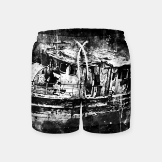 Miniatur old ship boat wreck ws bw Swim Shorts, Live Heroes