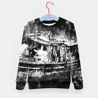 Thumbnail image of old ship boat wreck ws bw Kid's sweater, Live Heroes