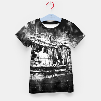 Miniatur old ship boat wreck ws bw Kid's t-shirt, Live Heroes