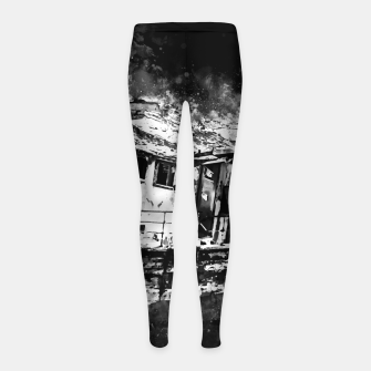 Miniatur old ship boat wreck ws bw Girl's leggings, Live Heroes
