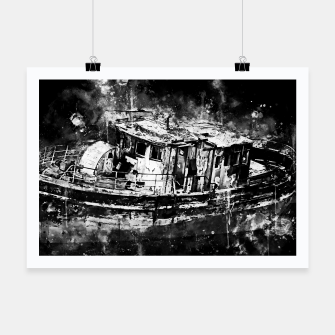 Miniatur old ship boat wreck ws bw Poster, Live Heroes