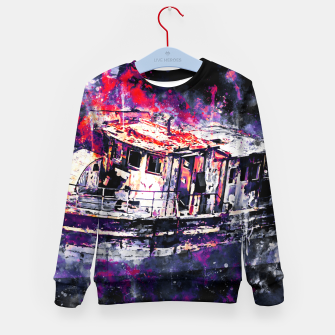 Thumbnail image of old ship boat wreck ws fn Kid's sweater, Live Heroes