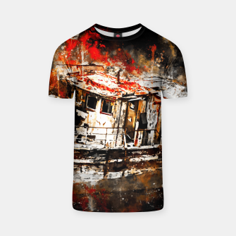 Thumbnail image of old ship boat wreck ws std T-shirt, Live Heroes