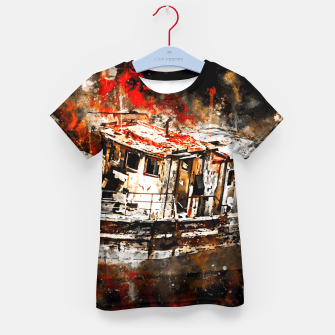 Thumbnail image of old ship boat wreck ws std Kid's t-shirt, Live Heroes