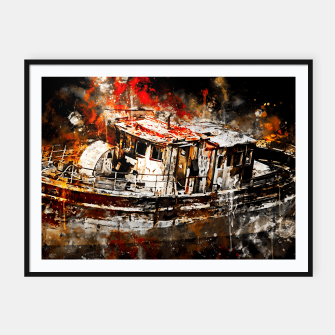 Thumbnail image of old ship boat wreck ws std Framed poster, Live Heroes