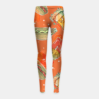 Thumbnail image of Junk Foodie Girl's leggings, Live Heroes