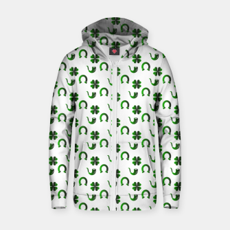 Thumbnail image of St. Patrick's day pattern Zip up hoodie, Live Heroes