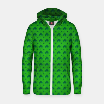 Thumbnail image of Green shamrocks pattern  Zip up hoodie, Live Heroes