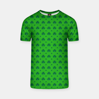 Thumbnail image of Green shamrocks pattern  T-shirt, Live Heroes
