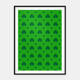Green shamrocks pattern  Framed poster thumbnail image