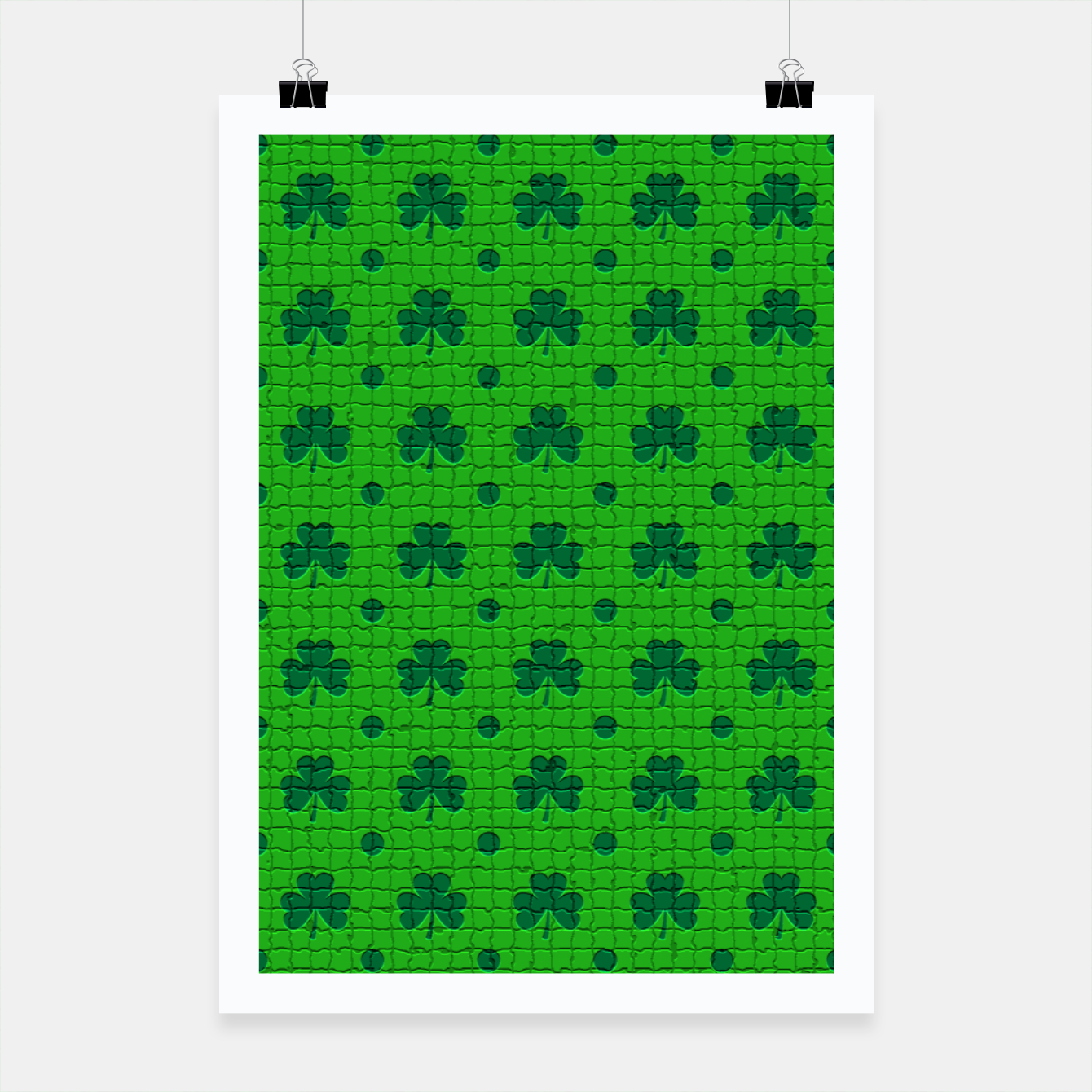 Image of Green shamrocks pattern  Poster - Live Heroes