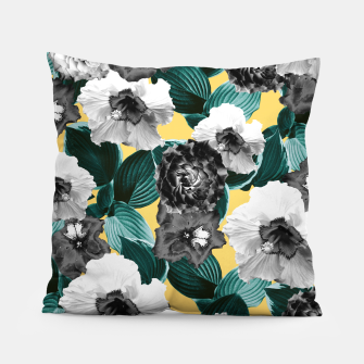 Thumbnail image of Black and White Floral Garden Glamor #2 #floral #decor #art  Kissen, Live Heroes