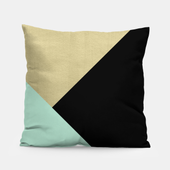 Thumbnail image of Gold meets Mint & Black Geometric #1 #minimal #decor #art Kissen, Live Heroes