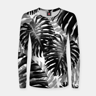 Tropical Monstera Jungle Leaves Pattern #3 #tropical #decor #art  Frauen sweatshirt Bild der Miniatur