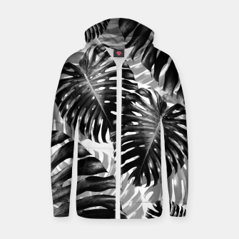 Tropical Monstera Jungle Leaves Pattern #3 #tropical #decor #art  Reißverschluss kapuzenpullover Bild der Miniatur