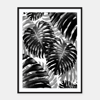 Tropical Monstera Jungle Leaves Pattern #3 #tropical #decor #art  Plakat mit rahmen Bild der Miniatur