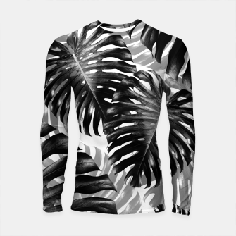 Tropical Monstera Jungle Leaves Pattern #3 #tropical #decor #art  Longsleeve rashguard Bild der Miniatur