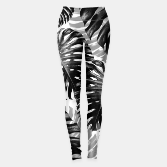 Tropical Monstera Jungle Leaves Pattern #3 #tropical #decor #art  Leggings Bild der Miniatur