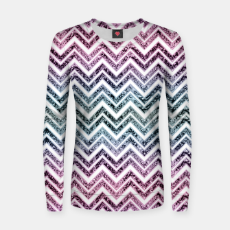 Unicorn Princess Glitter Glam Chevron #1 #shiny #pastel #decor #art  Frauen sweatshirt obraz miniatury