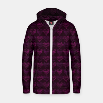 Thumbnail image of Squiggly Heart Pattern Purple Pink Zip up hoodie, Live Heroes