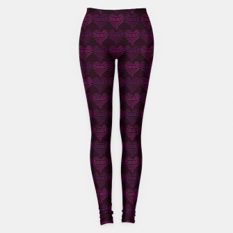 Thumbnail image of Squiggly Heart Pattern Purple Pink Leggings, Live Heroes