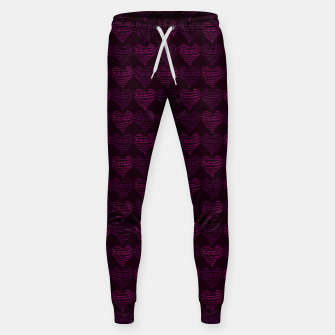 Thumbnail image of Squiggly Heart Pattern Purple Pink Sweatpants, Live Heroes