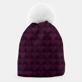 Thumbnail image of Squiggly Heart Pattern Purple Pink Beanie, Live Heroes
