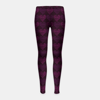 Thumbnail image of Squiggly Heart Pattern Purple Pink Girl's leggings, Live Heroes